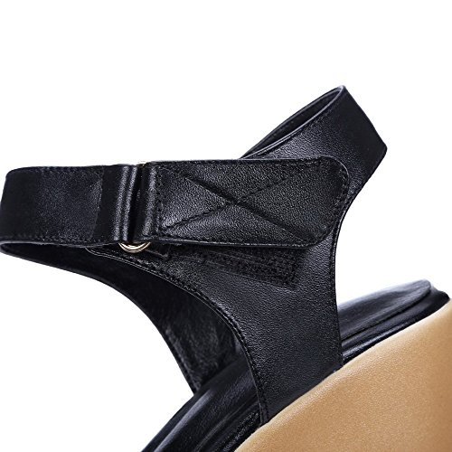AllhqFashion Abierta Mujeres Sólido Sandalia Negro Plataforma Velcro Puntera qrHSqwU