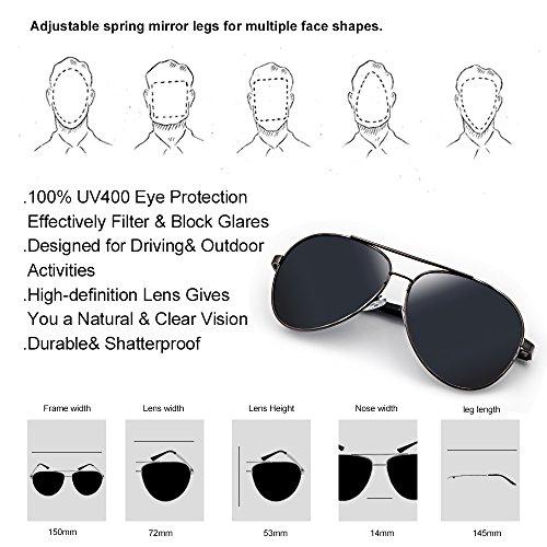 Fashion Aviator Sunglasses for Mens Womens Polarized Sun Glasses Shades - UV400 Protection
