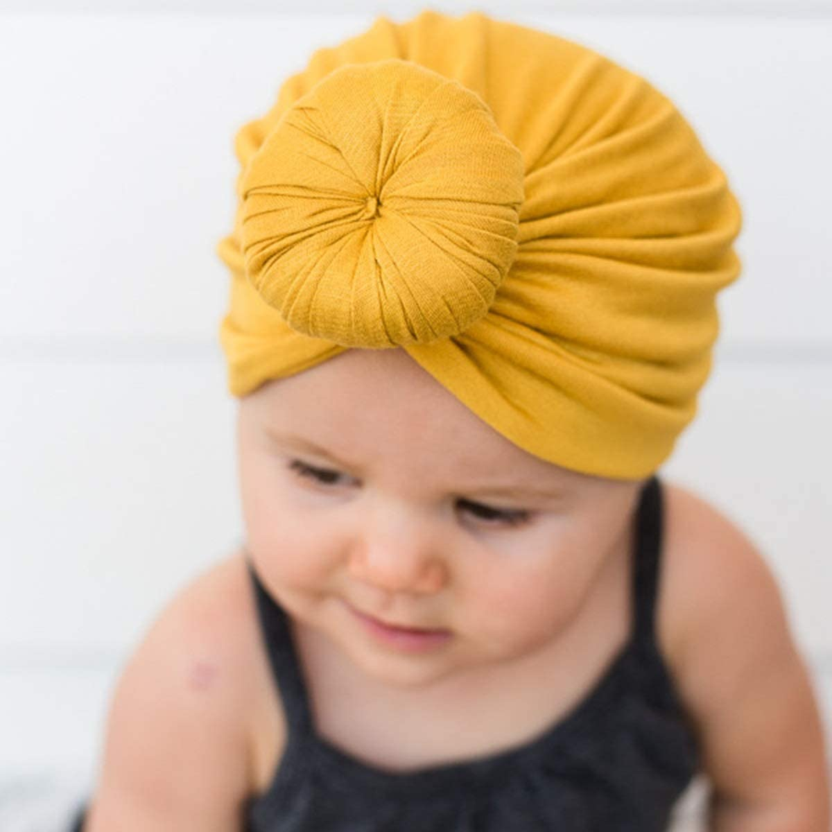 Color : White Leyeet Infant Toddler Baby Cap Cotton Tie Knot India Hat Indian Style Beanie Cap Winter Warm Headwear Turban Accessories