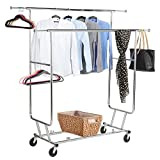 Yaheetech Commercial Grade Collapsible Adjustable Double Rail Rolling Clothes Rack Garment Rack Drying Rack Clothing Hanging Rack w/Adjustable Height and Length on wheels ,Chrome Finish (Silver)