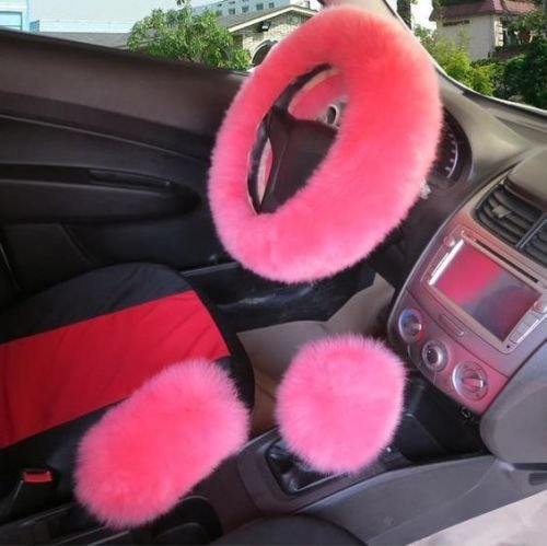 AUDEW Universal Steering Wheel Cover Pink Plush Wool Soft Fluffy Steering Cover Guard Truck Car Accessory 1 Set 3 Pcs