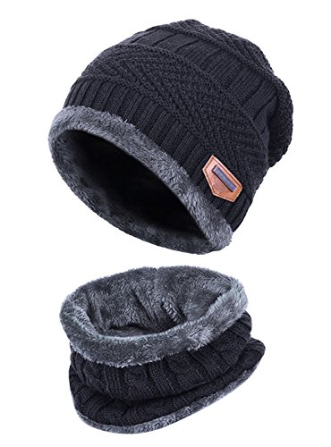 34f0717a06086 HINDAWI Womens Beanie Winter Hat Scarf Set Slouchy Warm Snow Knit Skull Cap  Black