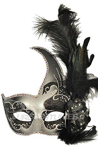 Black Swan Halloween Costume Makeup (Mardi Gras Masquerade Black Swan Crescent Mask (Black/Silver))
