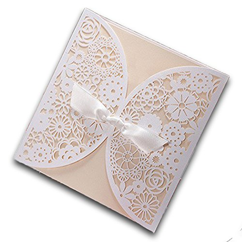 Design white laser cut wedding invitations cards set for 200 wedding invitations cost