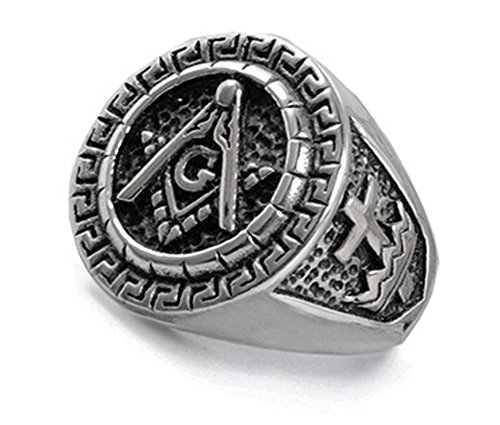 Knights Templar Masonic Ring - York Rite Stainless Steel Masonic Ring with Knights of Templar Crosses. Freemason Ring with Etched Symbols. Masonic Jewelry. (Size 10) ()