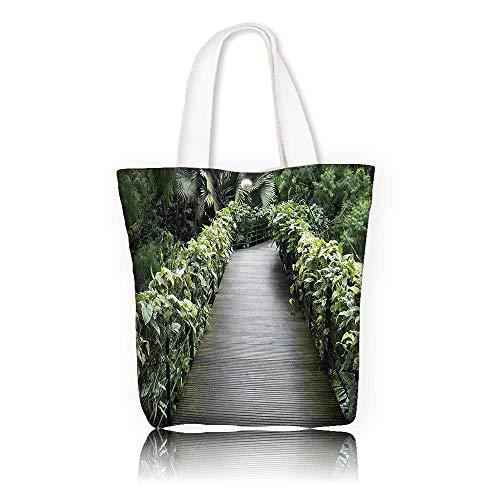 Women's Canvas Tote Handbags —W15 x H14 x D4.7 INCH/work school Shoulder Bag House Decor Scenic Wooden Pathway In Singapore Botanical Garden Fence Rainforest Tropical. ()