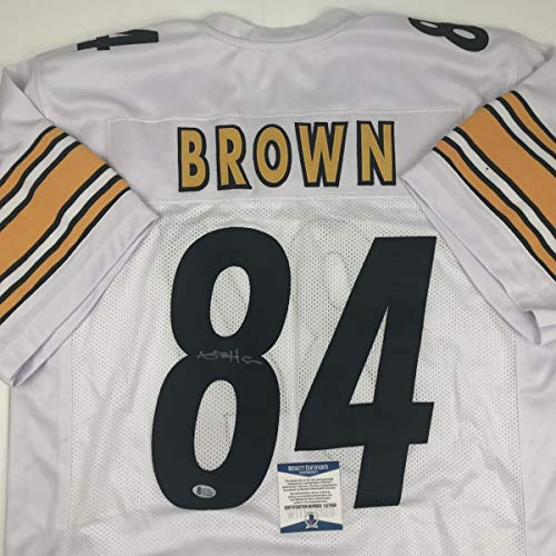 Autographed/Signed Antonio Brown Pittsburgh White Football Jersey Beckett BAS COA