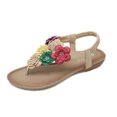0fb43945d826 Amazon.com  2019 Women s Flip Flops Sandals - Summer Comfort Retro Bohemian  Flowers Beach Clip Toe Flats Slippers Sandals Shoes 5-8.5  Clothing