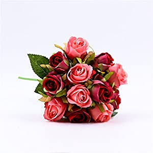 Lovemat Artificial Flowers,Nearly Natural Artificial Rose Bouquets for Wedding/Home Decor/Party Arrangement (red) 76