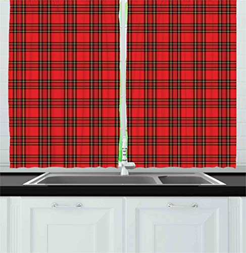(Retro Kitchen Curtains by Ambesonne, Classical Plaid Pattern Scottish Striped Tartan Traditional Graphic Illustration, Window Drapes 2 Panel Set for Kitchen Cafe, 55 W X 39 L Inches, Vermilion Black)