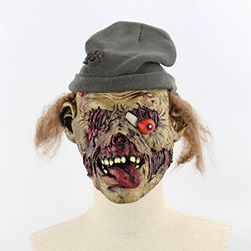 Xigeapg Horror Darkness Zombie Mummy Fire Face Smelly Halloween Room Escape Haunted House Prop Scary Latex Zombie Ghost Mask C]()