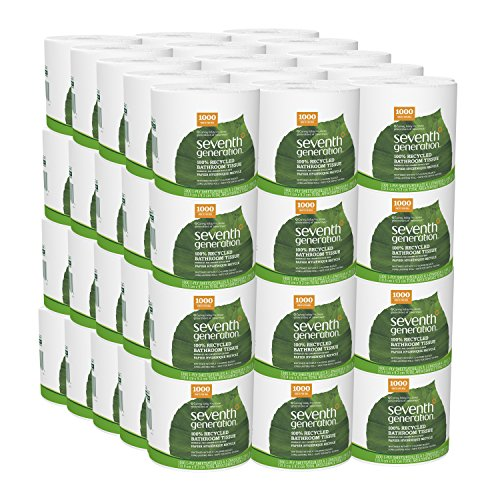Seventh Generation Toilet Paper, Bath Tissue, 100% Recycled Paper, 1000 Sheets Per Roll (Pack of 60) (7th Generation Size 1)