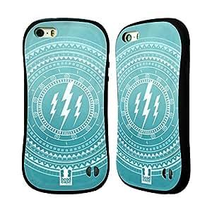 Head Case Designs Lightning Olympian Mandala Hybrid Gel Back Case for Apple iPhone 5 5s