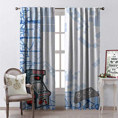 Hengshu Nursery Room Darkening Wide Curtains Abstract Gaming Background Arcade Machine and Console Fun Sketch Waterproof Window Curtain W96 x L84 Pale Blue Grey and ()