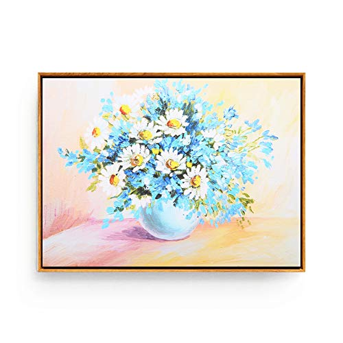 Hepix Framed Wall Art, Canvas White Sunfllowers and Blue Floral Print Oil Paintings, Modern Giclee Wall Artwork Flowers with Vase Wall Pictures for Home Decor Office Ready to Hang, ()