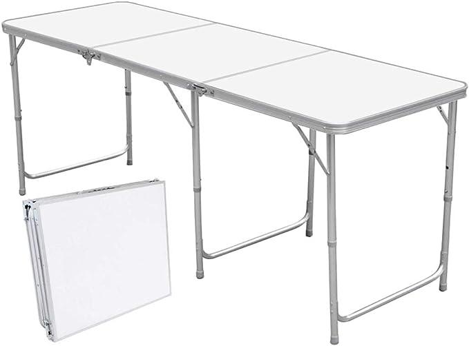 Mesa plegable universal, versátil, de aluminio y plástico/75 cm de largo x 55 cm de ancho x 60 cm de alto/con tornillos para equilibrar irregularidades/solo 2,6 kg aprox./plegable/Incluye asa para transporte/muy estable