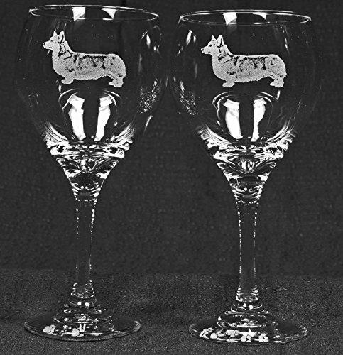 Muddy Creek Wine - Muddy Creek Reflection Pembroke Corgi Dog Laser Etched Large Red Wine Glass Set (2, 20RW)