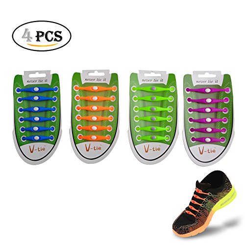 EDOBIL No Tie Lazy Silicone Shoelace for Adults Youth KeyWants Elastic Shoes Laces Fit for Sneaker, Casual Shoes (4 Pairs) (Purple Green Blue Orange)