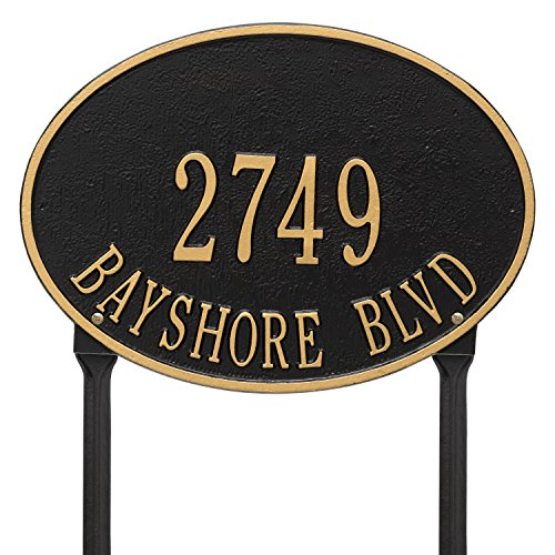(Whitehall Products Hawthorne Standard Oval Black/Gold Lawn 2-Line Address Plaque )