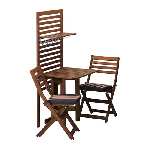 Ikea Wall panel, gateleg table & 2chairs, brown stained, Ekerön black 14202.172023.2614