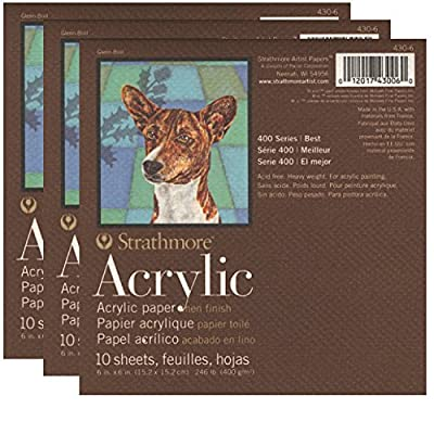 Strathmore 400 Series Acrylic Pads - 6 in x 6 in | 3 pack Bundle | For Acrylic Painting, Drawing, Charcoal and Pastel