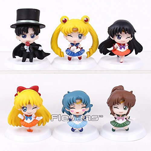 Sailor Moon Mars Jupiter Venus Mercury Tsukino Usagi Chiba Mamoru PVC Figures Collectible Model Toys 6pcs/set