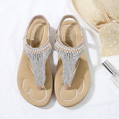 Jiyaru Womens Sandals Bohemia Flats Open Toe Elastic Summer Beach Casual Shoes Apricot 0QaJqOToLK