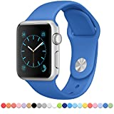 FanTEK Apple Watch Band - Soft Silicone Sport Style Replacement Iwatch Strap for Apple Wrist Watch 42mm Models M/L Size, Royal Blue