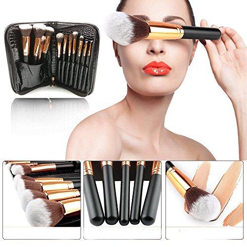 Makeup Brushes, Professional Travel Rose Gold Makeup Brush Set 11Pcs with Makeup Bag Organizer Crocodile Skin