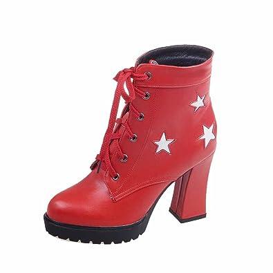 AgooLar Damen Hoher Absatz PU Zweifarbig Schnüren Stiefel, Rot, 39