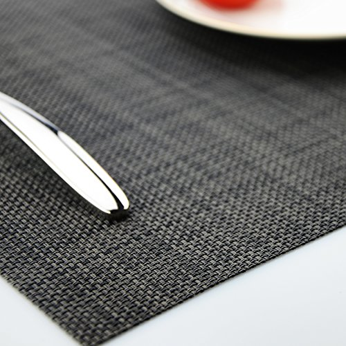 Placemats Heat-resistant Dining Table Place mats Anti-skid Washable PVC Kitchen Table Mats By KOKAKO ,Set of 4 (Dark Gray) by KOKAKO (Image #1)