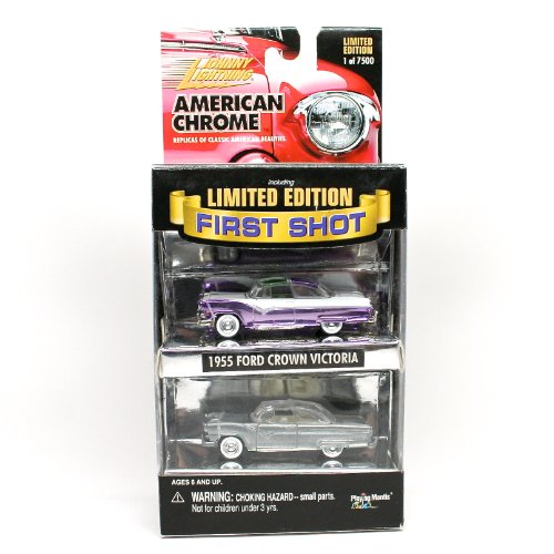 1955 FORD CROWN VICTORIA * Limited Edition First Shot * 2000 Johnny Lightning American Chrome Collection Die-Cast Vehicle 2 Car Collection (1 of only 7,500 sets)