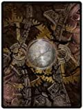 Home Fashions design Fleece Blanket Throw 58'' x 80'' (Large) Size with Abstraction Steampunk Mechanism Machine Engineering Gear Background