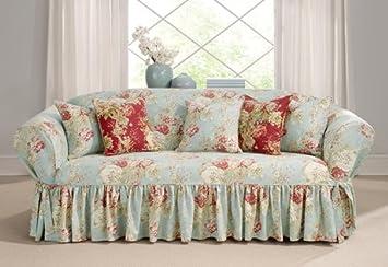 Ballad Bouquet Waverly One Piece Sofa Slipcover Robins Egg