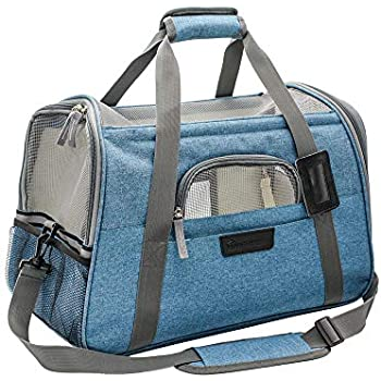 Airline Approved Cat Carrier-Soft Sided Pet Carrier Portable with Fleece Padded Mat-Fits Under Airplane Seat-for Small Cat and Dog,Turquoise