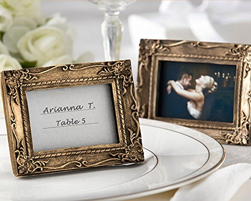 72 ''Work of Art'' Antique-Finish Place Card Holder/Photo Frames - Antique-Gold by Kateaspen