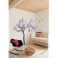 Japanese Cherry Blossom Birdhouse and Tree Large Wall Decal Sticker DIY Nursery Room Decor Art, Shades of Purple, 60x77 inches