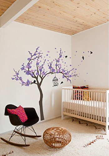 Purple Flowers Sticker - Japanese Cherry Blossom Birdhouse and Tree Large Wall Decal Sticker DIY Nursery Room Decor Art, Shades of Purple, 60x77 inches