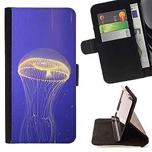 BullDog Case - FOR/Sony Xperia Z1 Compact D5503 / - / jellyfish glowing ocean blue sea nature /- Monedero de cuero de la PU Llevar cubierta de la caja con el ID Credit Card Slots Flip funda de cuer