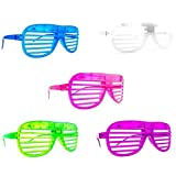 Set of 12 Multi Color Flashing LED Light up Slotted Shutter Sunglasses Party Favors (Colors May Vary)