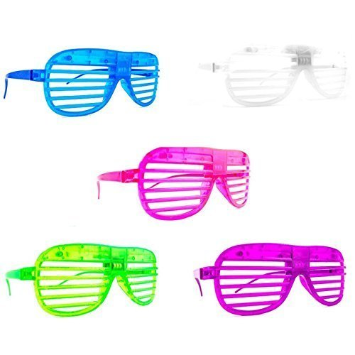 Set of 12 Multi Color Flashing LED Light up Slotted Shutter Sunglasses Party Favors (Colors May Vary) ()