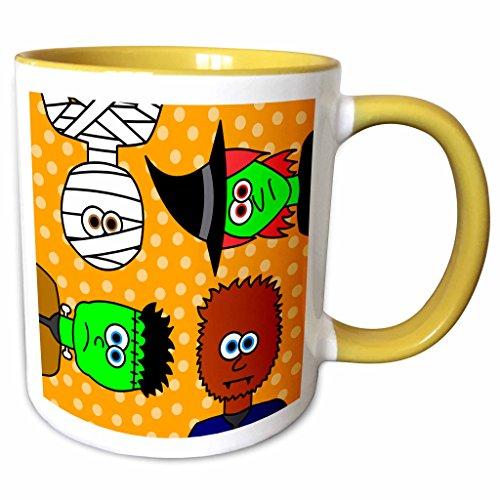 3dRose Janna Salak Designs Halloween - Cute Frankenstein Witch Wolfman and Mummy - 11oz Two-Tone Yellow Mug (mug_6359_8)