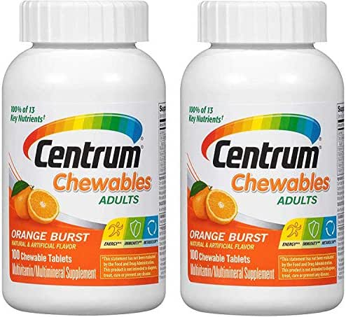 Centrum Chewables Adults MultiVitamin MultiMineral Supplement in Delicious Orange Burst for Energy, Immunity and Metabolism with 100% of 15 Key Nutrients (100 Chewable Tablets) Pack of 2