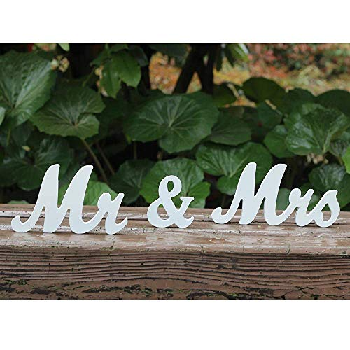 Amajoy Vintage Mr & Mrs White Wooden Letters Wedding Stand Sign Stand Figures Decor Wedding Present Home Decoration]()