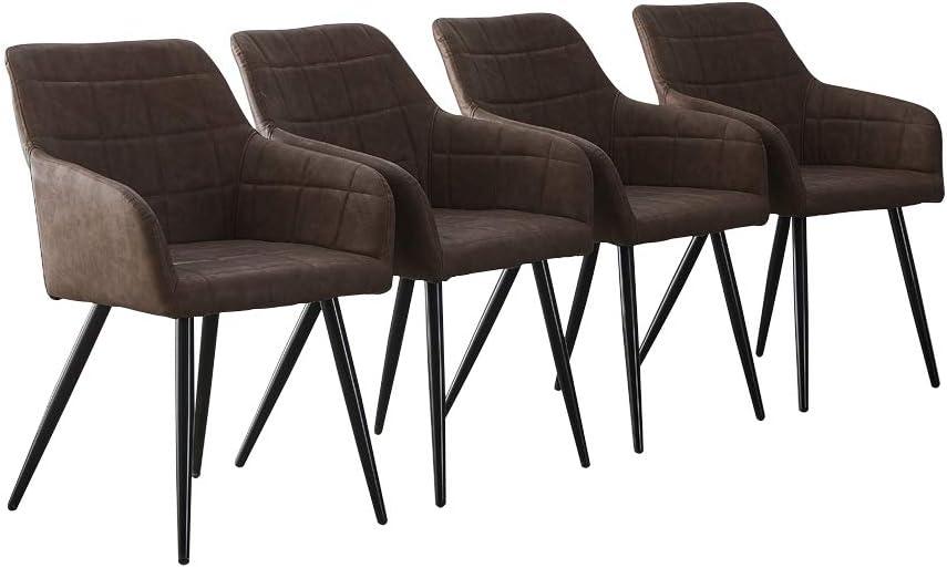 CLIPOP - Juego de 4 sillas de Comedor de Piel sintética con Respaldo y reposabrazos, sillas de recepción para el hogar y la Oficina, Piel sintética, marrón, 60 * 56 * 82 CM