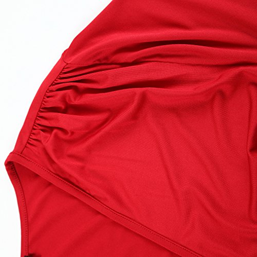 Plus Women's Size Dress Party Cocktail Casual Length Solid Whimsy Rose Dress Wrap Chicwe Red Knee B5nqd4qw