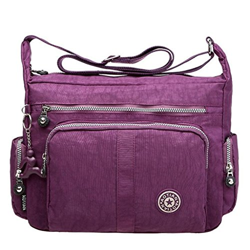 Bagtopia Large Capacity Women's Casual Shoulder Bags Waterproof Multi Pockets Nylon Cross Body Handbags Purple 1