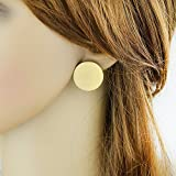 Feelontop Punk Gold Color Big Round Stud Earrings with Jewelry Pouch