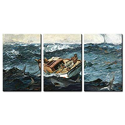 3 Panel World Famous Painting Reproduction The Gulf Stream by Winslow Homer x 3 Panels
