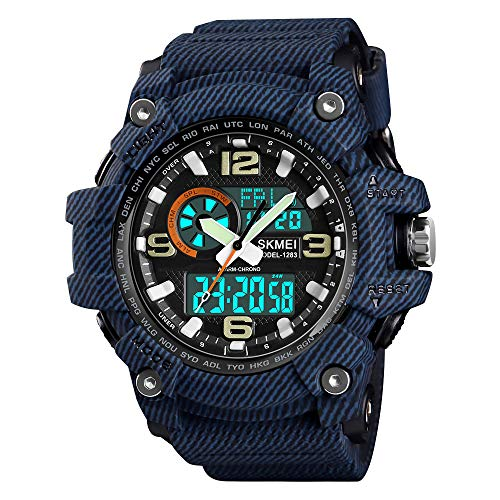 Mens Analog Digital Watch Military Waterproof Wrist Watches Outdoor Sport Multifunction Casual Dual Display 12H/24H Stopwatch Calendar Watch - Cowboy Blue